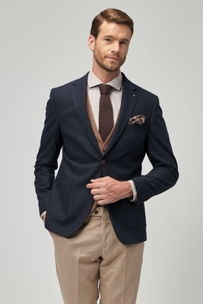 ALTINYILDIZ CLASSICS Erkek Lacivert-Bej Slim Fit Kombinli Takım Elbise