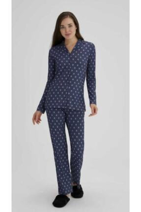 Eros Pijama Eros Esk27692 Kadın Çiçekli Gömlek Pijama Takımı