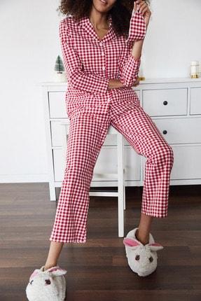 XENA Kadın Kırmızı Göz Bantlı Kareli Dokuma Pijama Takımı 1KZK8-11316-04