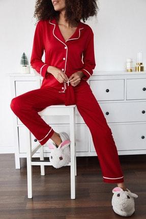 XENA Kadın Kırmızı Göz Bantlı Kareli Örme Pijama Takımı 1KZK8-11318-04