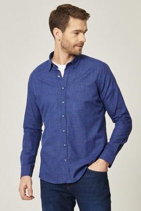 AC&Co / Altınyıldız Classics Erkek Lacivert-Mavi Tailored Slim Fit Dar Kesim Düğmeli Yaka %100 Koton Gömlek