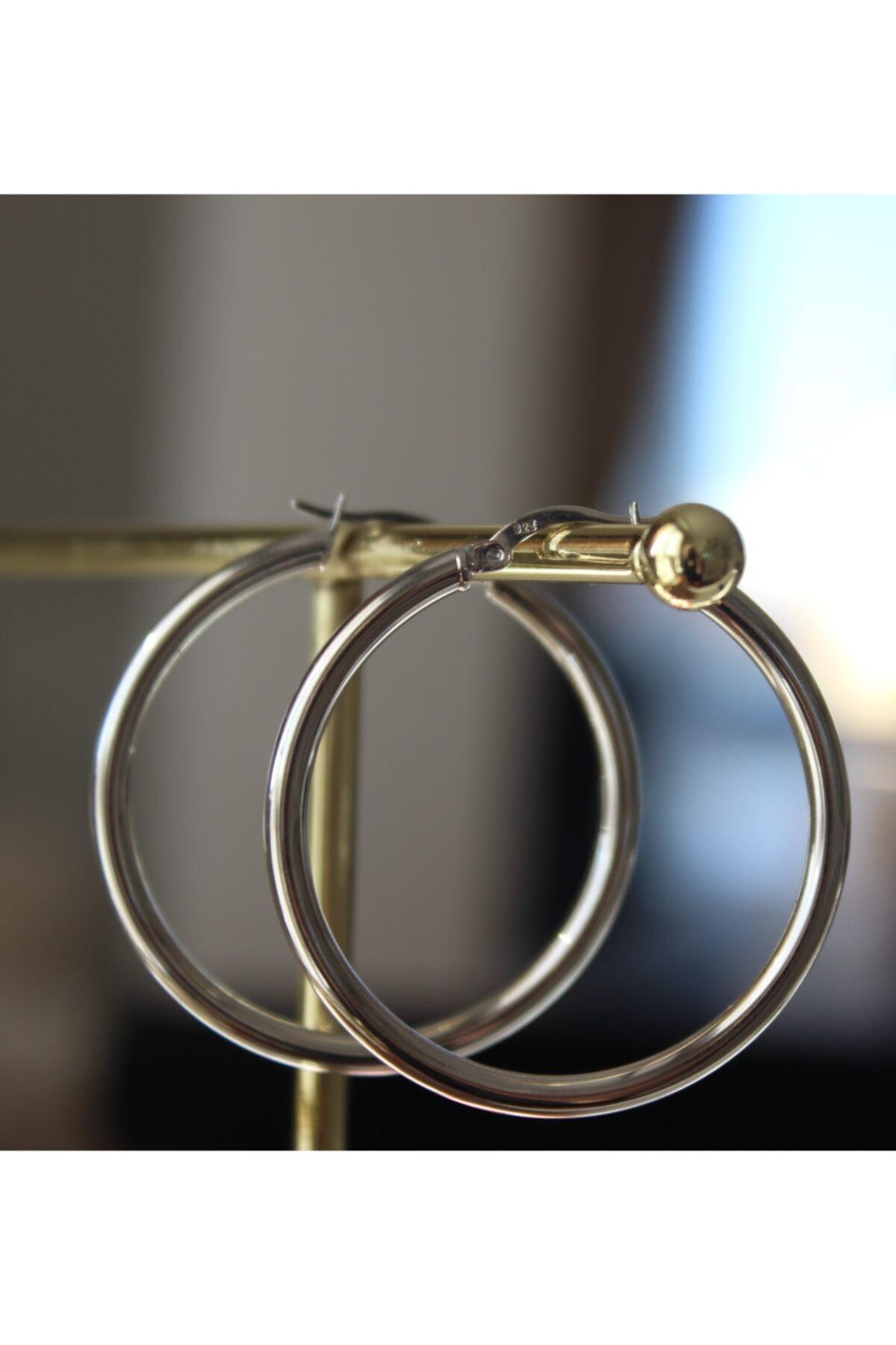 MODERN JEWELS DESIGN 925 Ayar Gümüş Rodyum Kaplama Halka Küpe 1