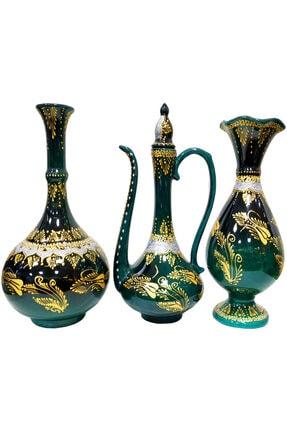 Otogar Çini El Yapımı 3 Lü Çini Konsol Takımı-2 Vazo 1 Ibrik Zümrüt Yeşili/siyah Tonda Altın/gümüş Renk Yaldızlı