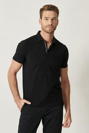 ALTINYILDIZ CLASSICS Erkek Siyah Polo Yaka Cepsiz Slim Fit Dar Kesim %100 Koton Desenli Tişört