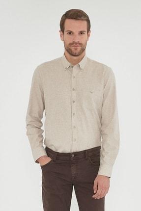 ALTINYILDIZ CLASSICS Erkek Bej Tailored Slim Fit Dar Kesim Düğmeli Yaka Kışlık Gömlek