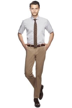 ALTINYILDIZ CLASSICS Erkek Kahve Beyaz Regular Fit Kısa Kollu Gömlek