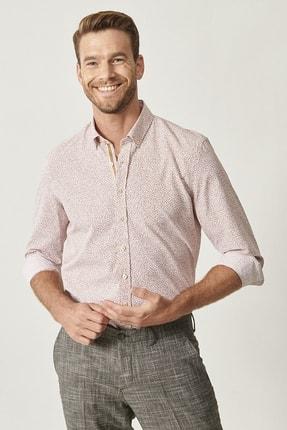 ALTINYILDIZ CLASSICS Erkek Kiremit Kiremit Baskılı Düğmeli Yaka Tailored Slim Fit Gömlek