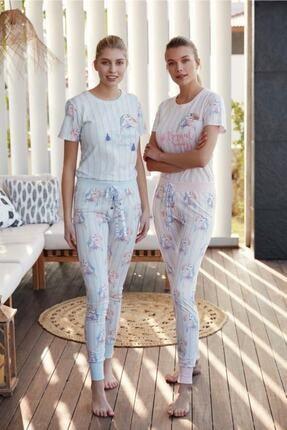 Feyza Kısa Kol Pijama Takım Takım Mavi 3483