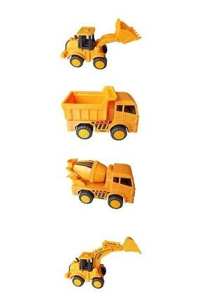 Meva Market Oyuncak Iş Makinaları Seti Dozer, Kepçe, Mikser Ve Kamyon, Sürtmeli 4'lü Set