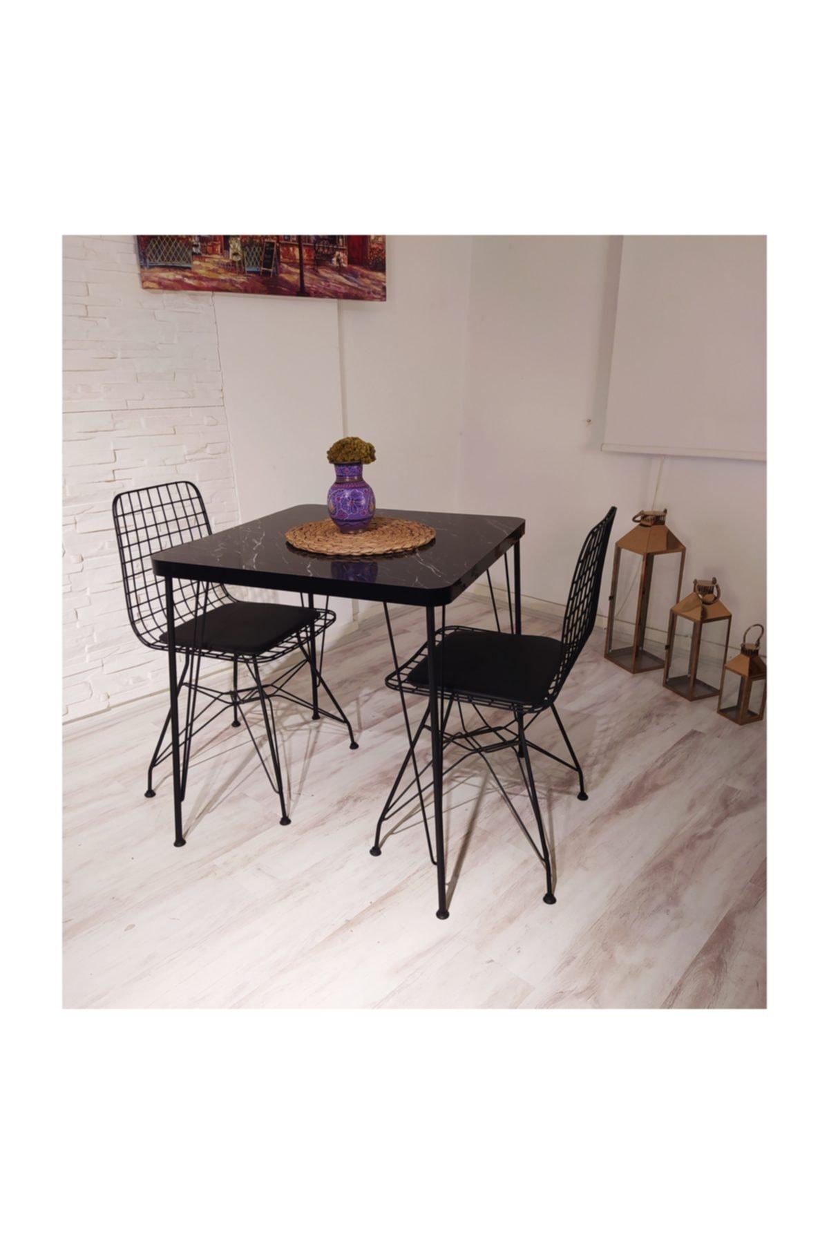 AVVİO Defne 2 Kişilik Yemek Masası Takımı-mutfak Masası Takımı-siyah Mermer Desenli 1