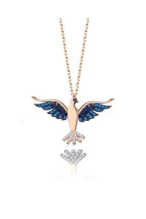 Trend Silver 925 Ayar Gümüş Rose Lacivert Safir Ve Turkuaz Taşlı Zümrüdü Anka Cennet Kuşu Kolye