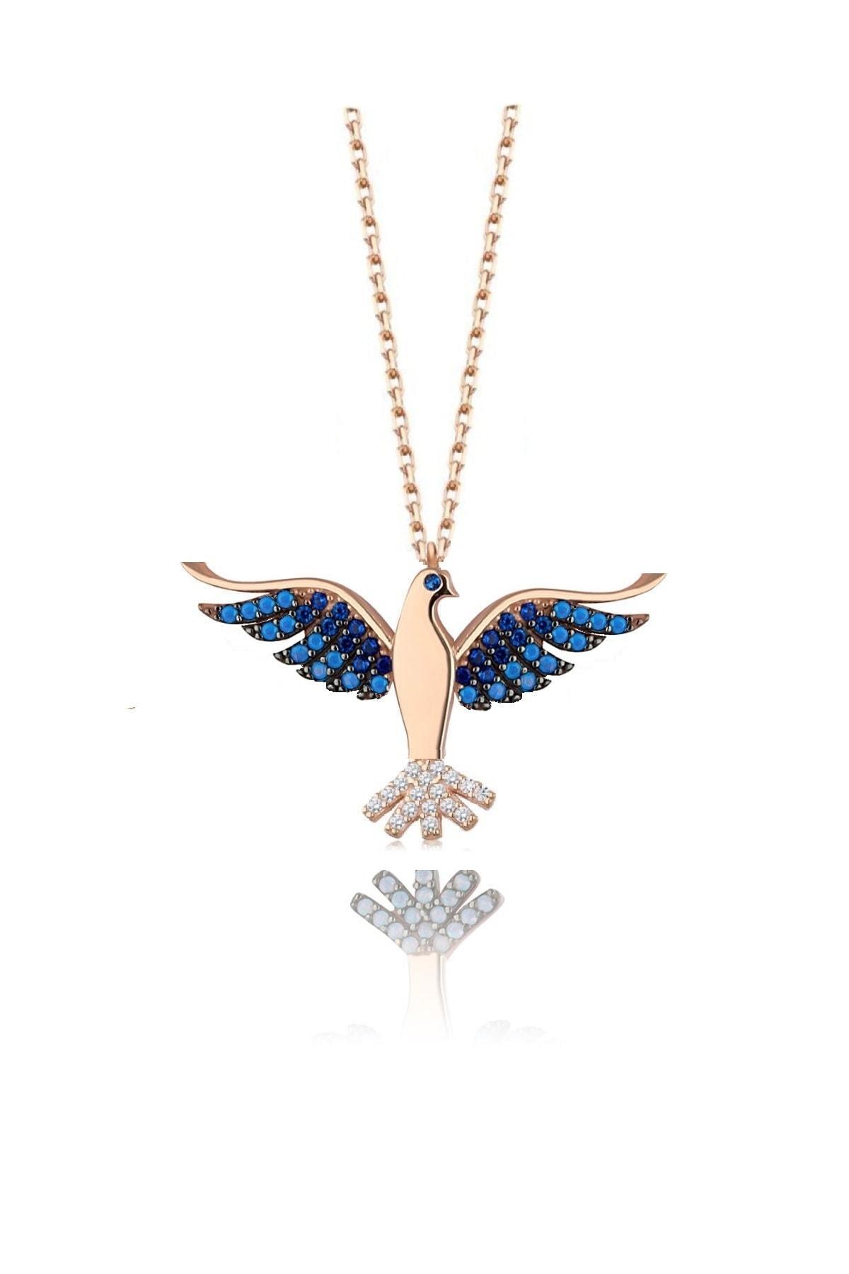 Trend Silver 925 Ayar Gümüş Rose Lacivert Safir Ve Turkuaz Taşlı Zümrüdü Anka Cennet Kuşu Kolye 1