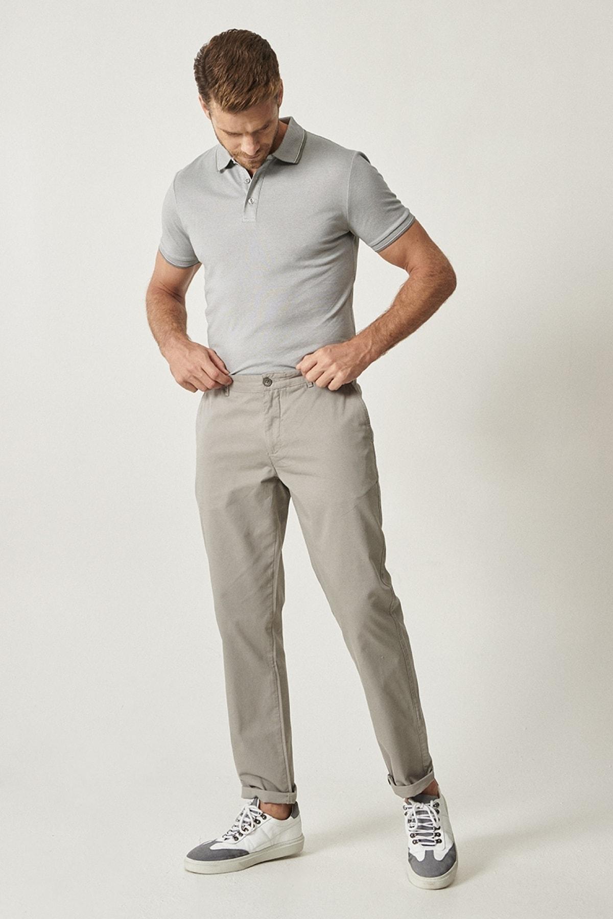 ALTINYILDIZ CLASSICS Erkek Açık Gri Kanvas Slim Fit Chino Pantolon 2