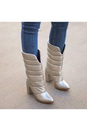 Emre Tunca Kadın Gri Pofuduk Kalın Topuklu Çizme