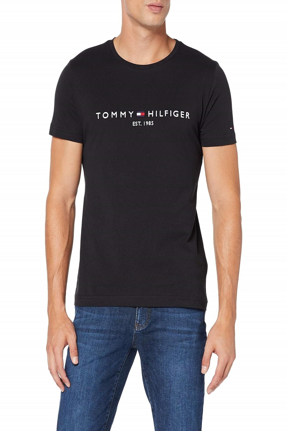 Tommy Hilfiger Erkek Lacivert  Logo Tee T-shirt Mw0mw11797 2