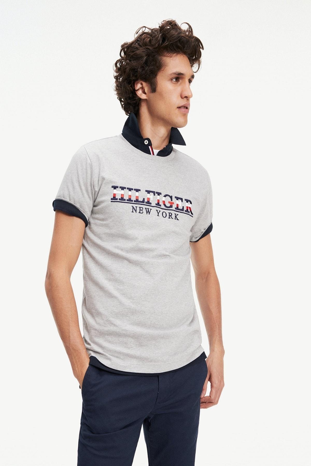 Tommy Hilfiger Erkek Gri Strike Through T-shirt Mw0mw11803 1