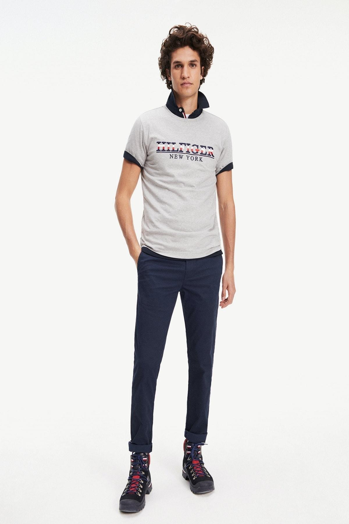Tommy Hilfiger Erkek Gri Strike Through T-shirt Mw0mw11803 2