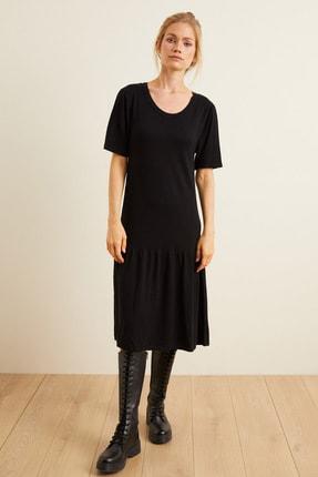 Love My Body Kadın Siyah Etek Ucu Büzgülü Triko Elbise