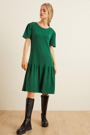Love My Body Kadın Yeşil Etek Ucu Büzgülü Triko Elbise