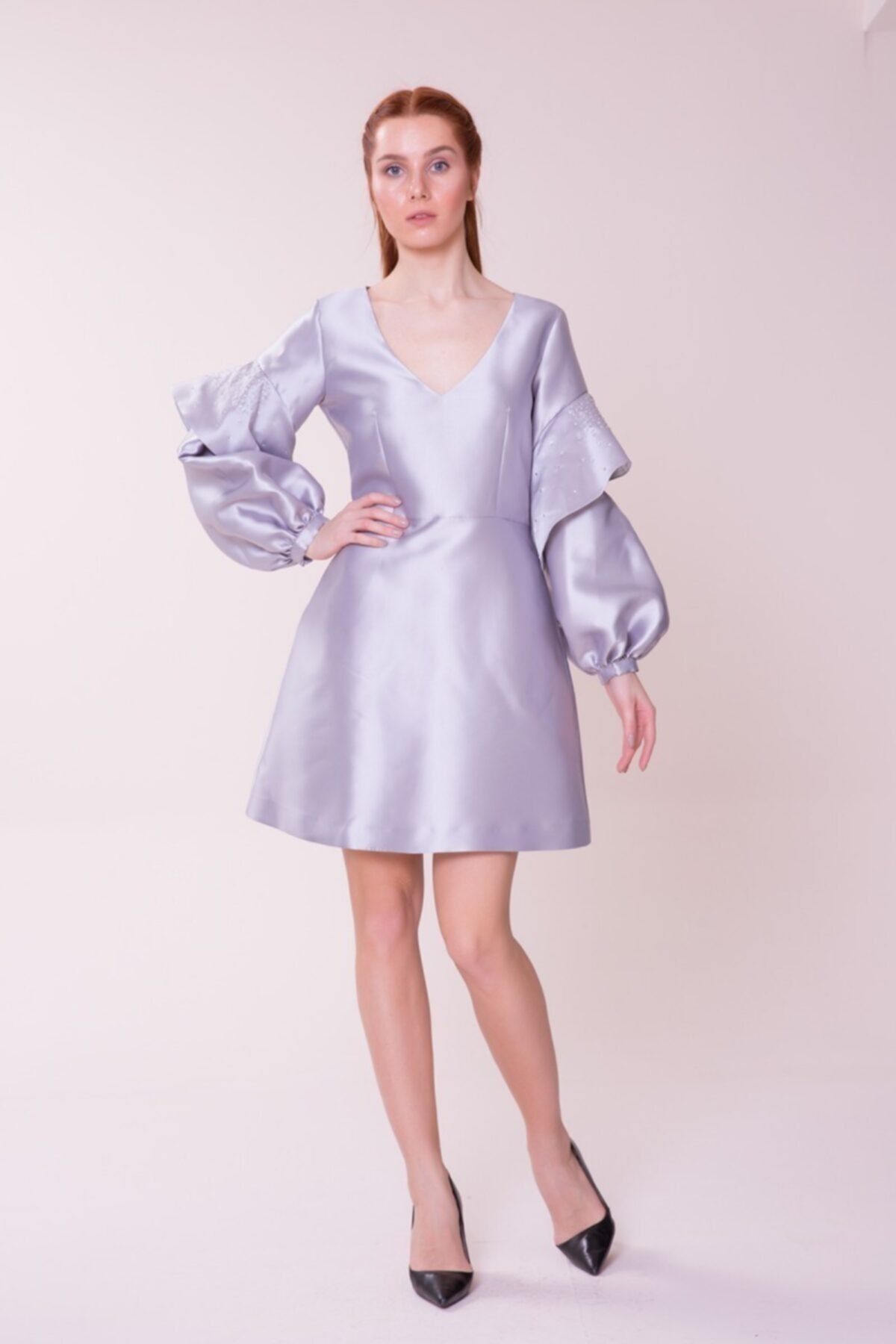 GIZIA CASUAL Kol Detaylı Gri Mini Elbise 1