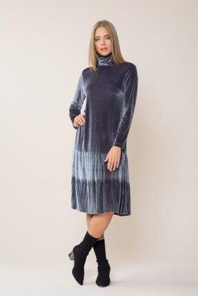 GIZIA CASUAL Kadife Midi Elbise