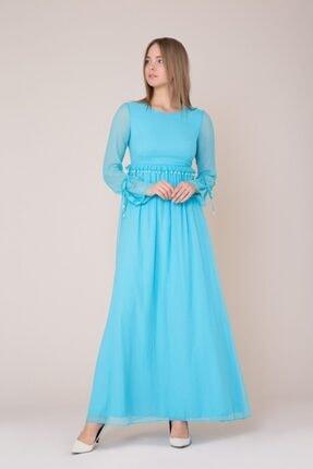 GIZIA CASUAL Işlemeli Uzun Turkuaz Elbise