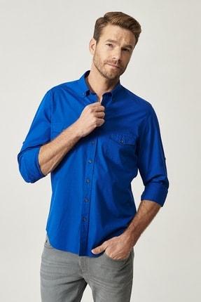 ALTINYILDIZ CLASSICS Erkek Saks Mavi Düğmeli Yaka Tailored Slim Fit Casual Gömlek