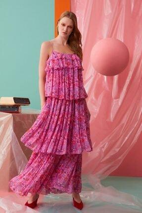 GIZIA CASUAL Ip Askılı Fırfır Detaylı Pembe Elbise