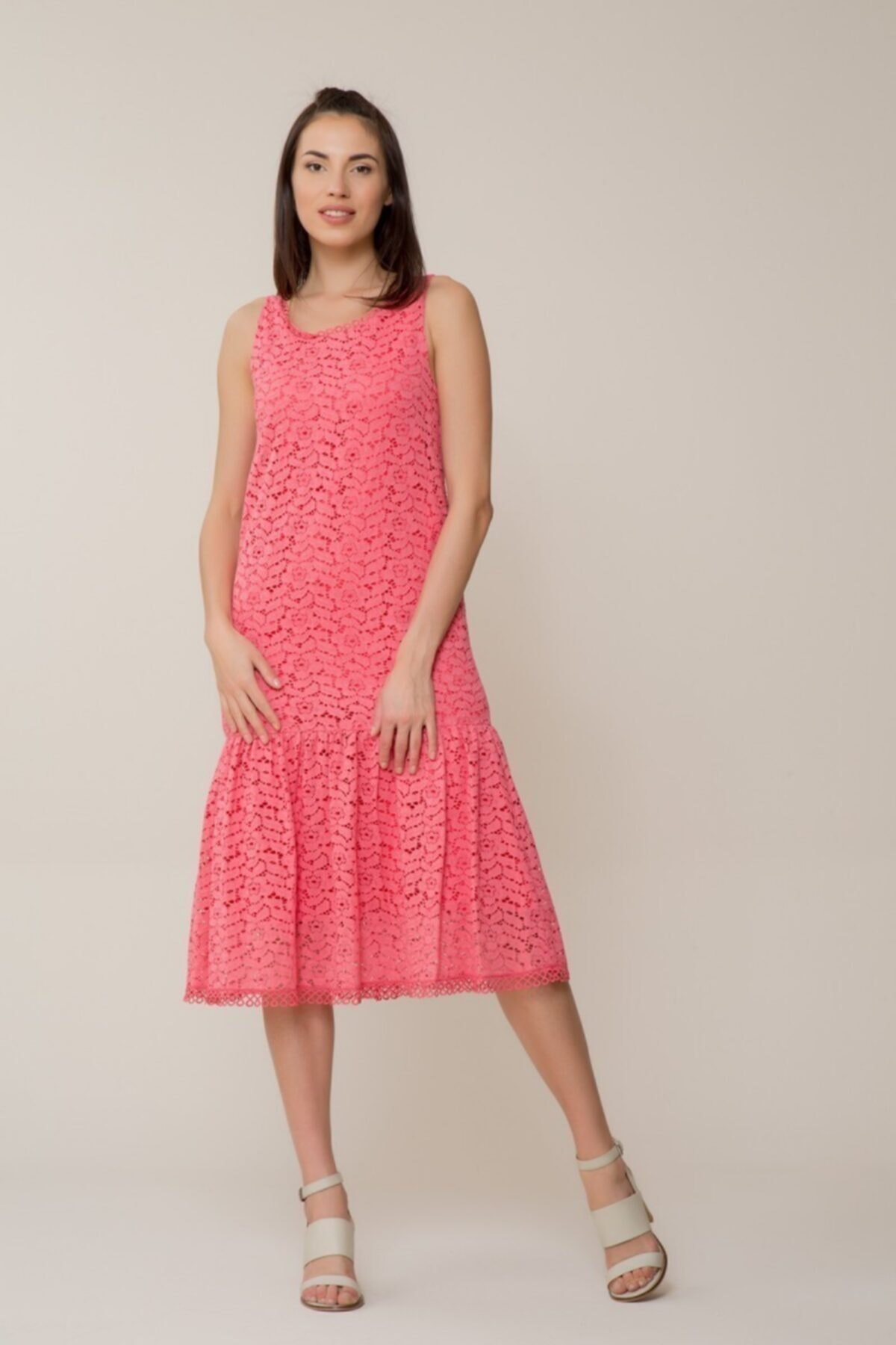 GIZIA CASUAL Kadın Güpür Midi Elbise M18YEW14813FQ 1