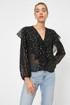 Koton Kadın Siyah Renkli  Puantiyeli Bluz 0YAK68964PW