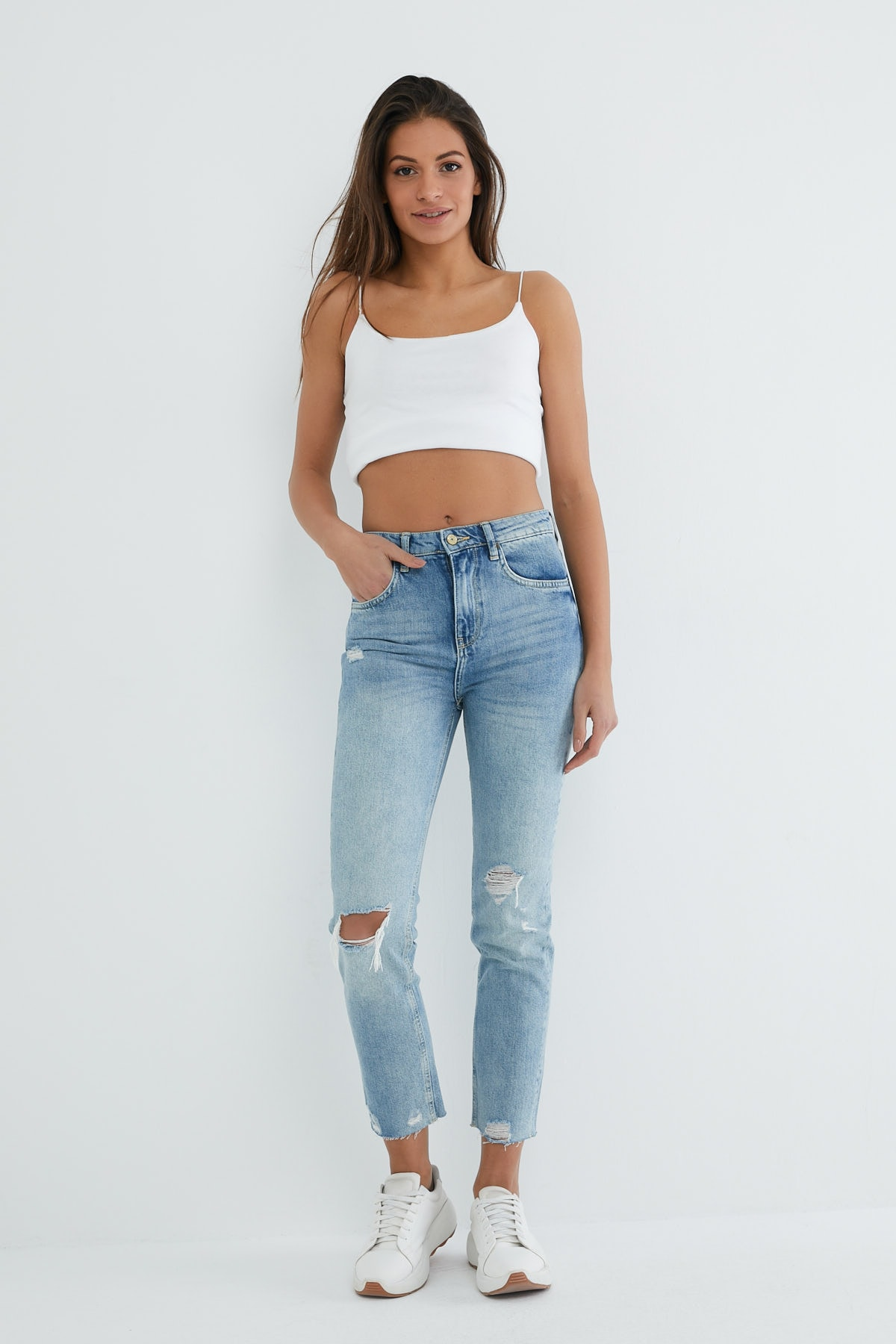 VENA Melında Yırtıklı Med Blue Denim Pantolon 2
