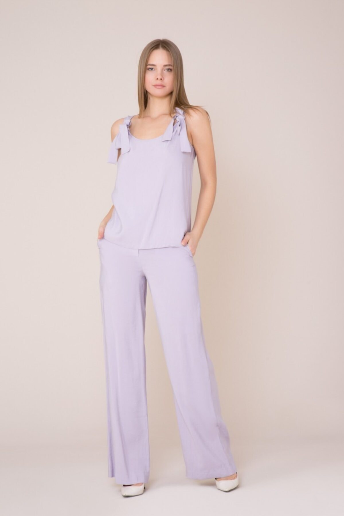 GIZIA CASUAL Fiyonk Askılı Lila Bluz 1