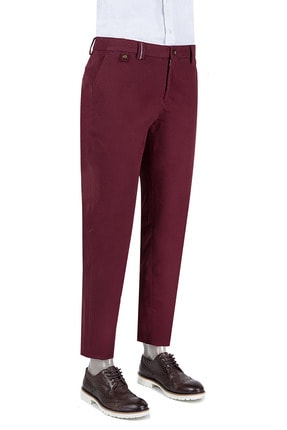 D'S Damat Damat Slim Fit Bordo Chino Pantolon