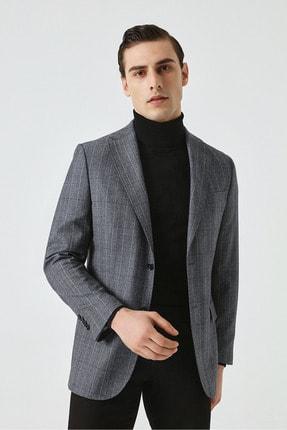 D'S Damat Damat Regular Fit Mavi Desenli Kumaş Ceket