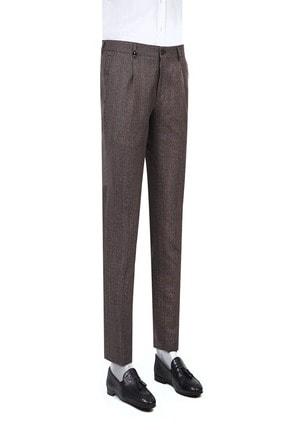 D'S Damat Tween Slim Fit Bordo Kareli Kumaş Pantolon
