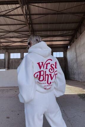 Modayıldızlar Beyaz Kapüşonlu Wrst Bhvr Sweat
