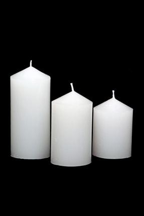 Angel Mum Beyaz Silindir Mum 3'lü  Set Pudra Kokulu 6 cm Çap Boylar 6-9-12  cm