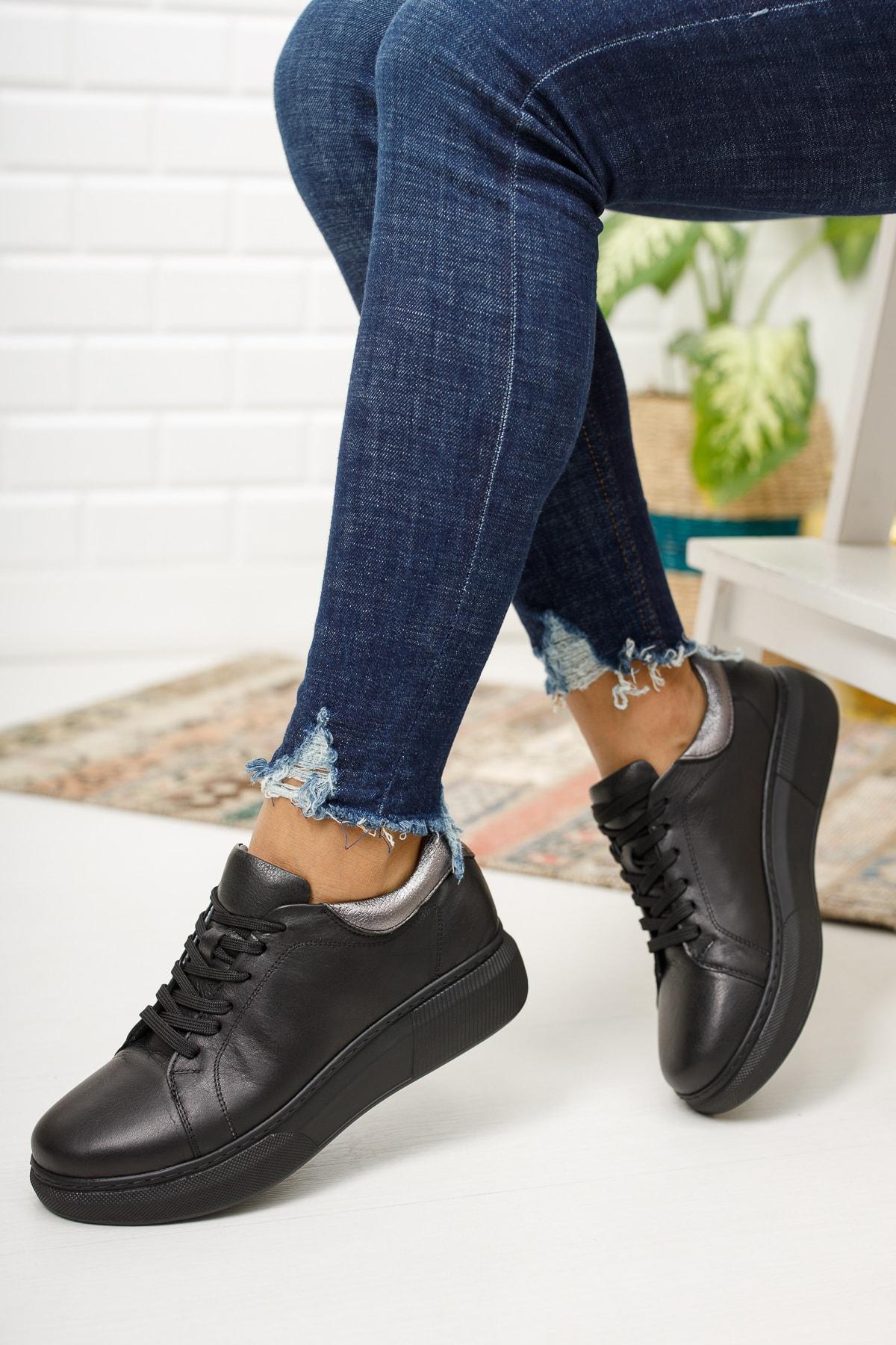 Deripabuc Hakiki Deri Siyah Kadın Deri Sneaker Dp15-0072 2