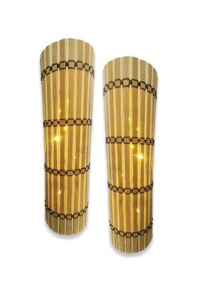 Harflamba 2'li Ledli Dekoratif Bambu Aplik (Pilli) Gece Lambası