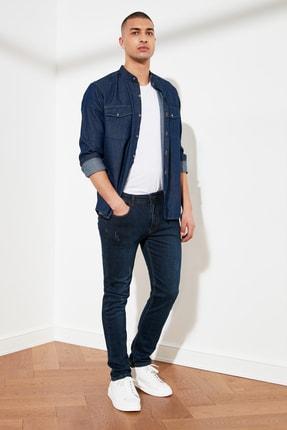 TRENDYOL MAN Indigo Erkek Destroylu Skinny Fit Jeans TMNSS21JE0205