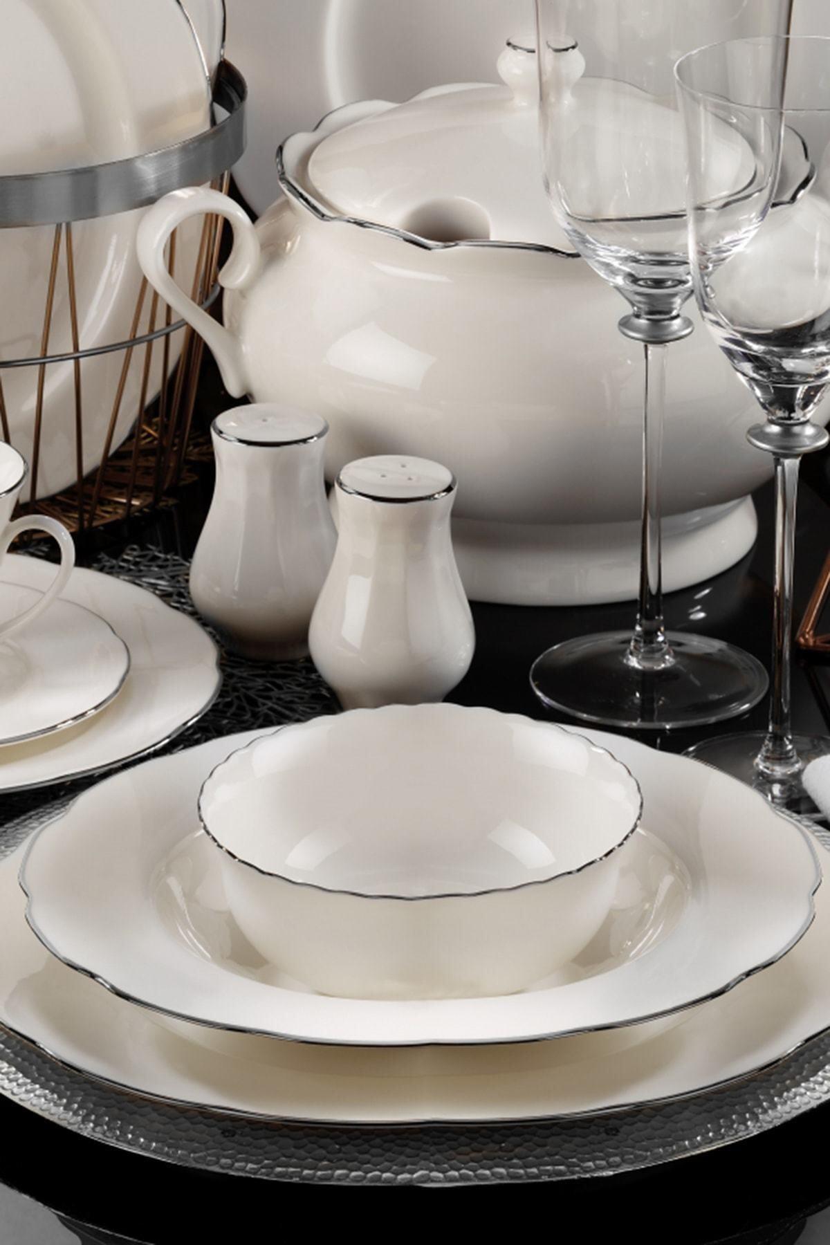 Kütahya Porselen Olympos 83 Parça Yemek Takımı Platın File Bnoly83yt220 2