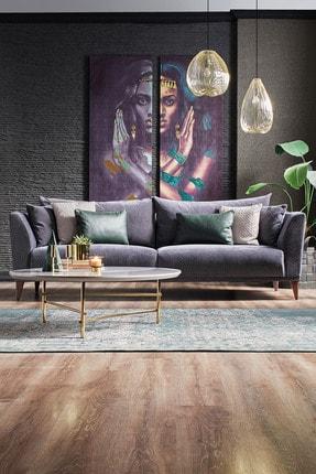 Enza Home Gravity Plus Lacivert 3,5'lu Koltuk - Kadife Kumaş
