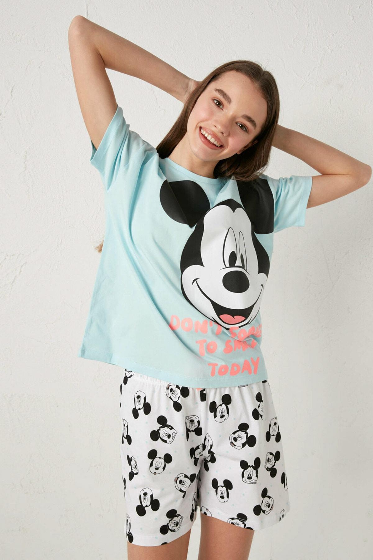 LC Waikiki Mickey Mouse Kadın Mavi G2P Pijama Takımı 2