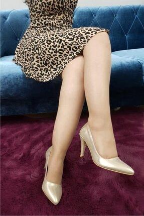 TREND Kadın Altın Parlak Topuklu Ayakkabı