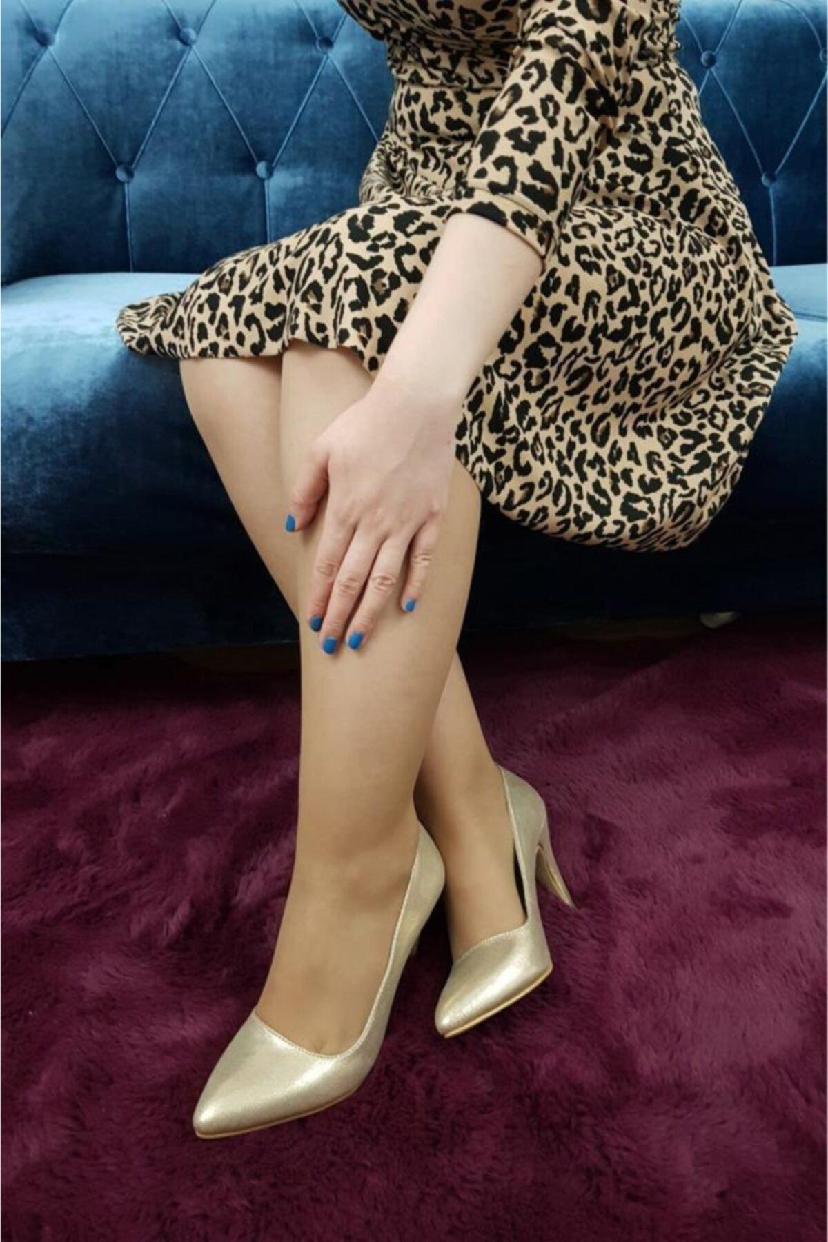 TREND Kadın Altın Parlak Topuklu Ayakkabı 2