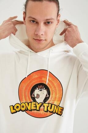 DeFacto Erkek Ekru Looney Tunes Lisanslı Oversize Fit Kapüşonlu Sweatshirt