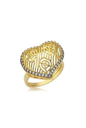 Gumush Kadın Sarı Kalpli Gümüş Yüzük