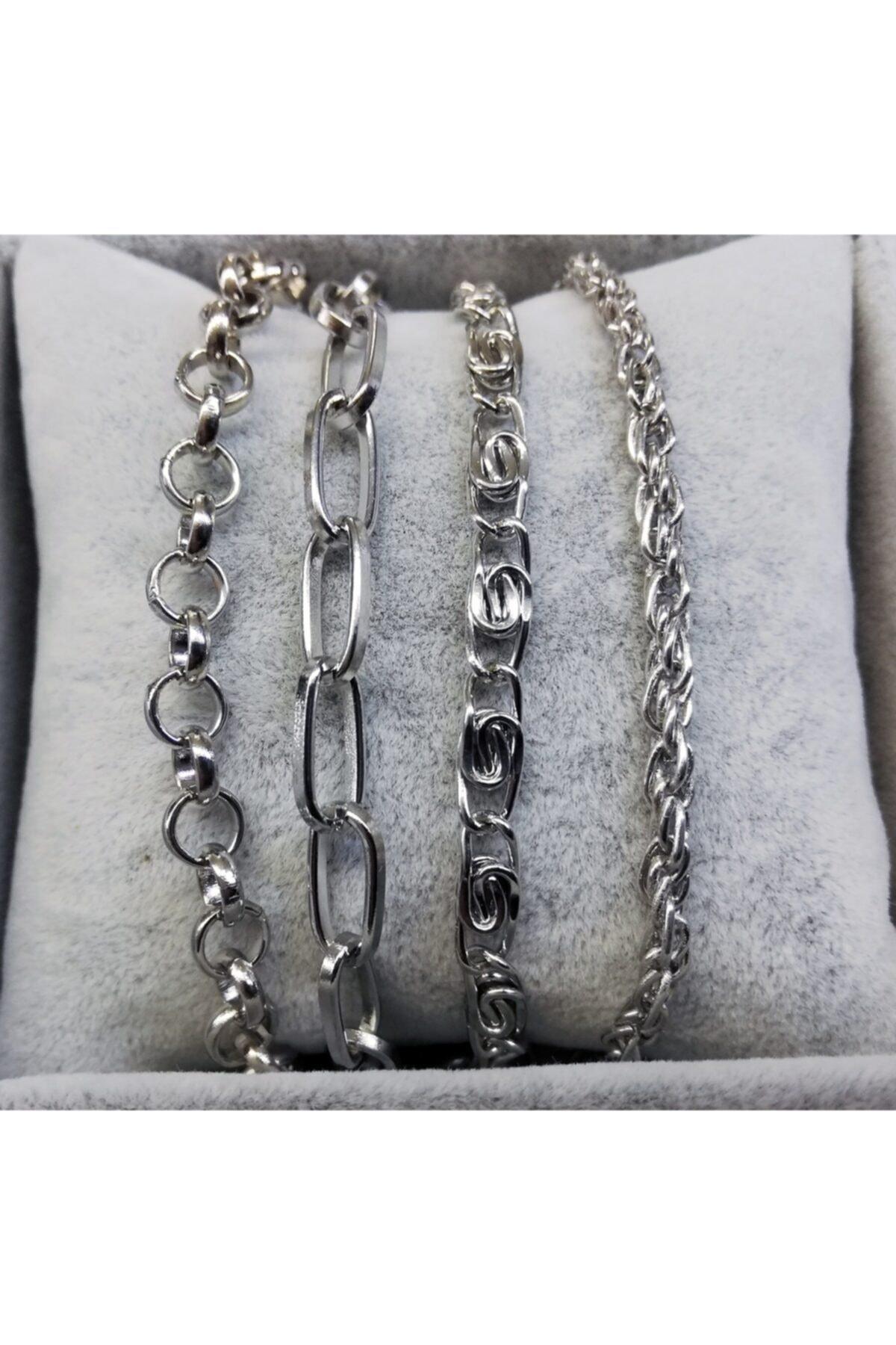 X-Lady Accessories Kadın Gümüş Italyan Zincirli Kombin Bileklik 2