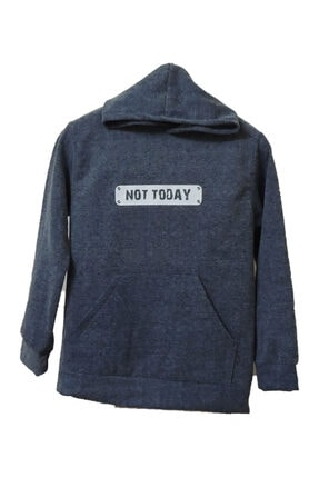Not Today Uzay Gri Renk Unisex Kapüşonlu Sweatshirt %100 Pamuk