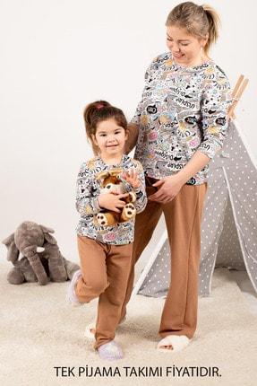 armonika Kadın Camel Anne Kız Model Grafik Desenli Pijama Takımı ARM-21K001115